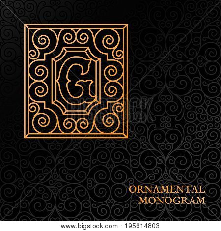 Flourishes luxury elegant ornamental monogram template with letter G in trendy linear style. Vector illustration.