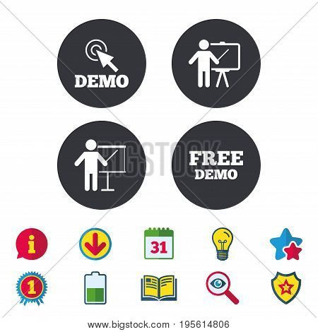 Demo with cursor icon. Presentation billboard sign. Man standing with pointer symbol. Calendar, Information and Download signs. Stars, Award and Book icons. Light bulb, Shield and Search. Vector