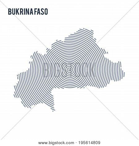Vector Abstract Hatched Map Of Bukina Faso With Spiral Lines Isolated On A White Background.