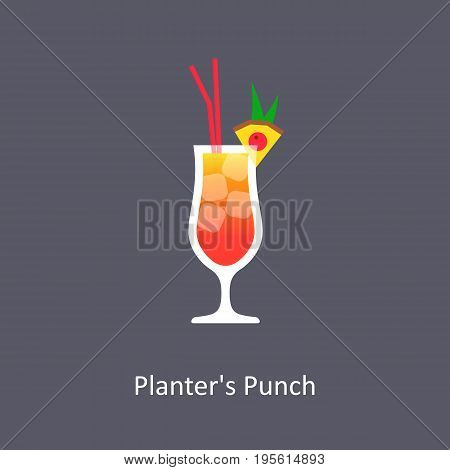 Planter's Punch cocktail icon on dark background in flat style. Vector illustration