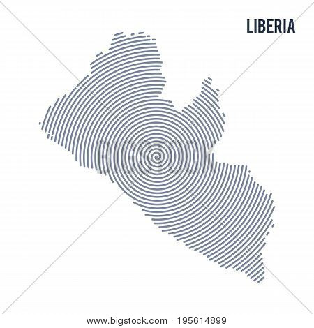 Vector Abstract Hatched Map Of Liberia With Spiral Lines Isolated On A White Background.