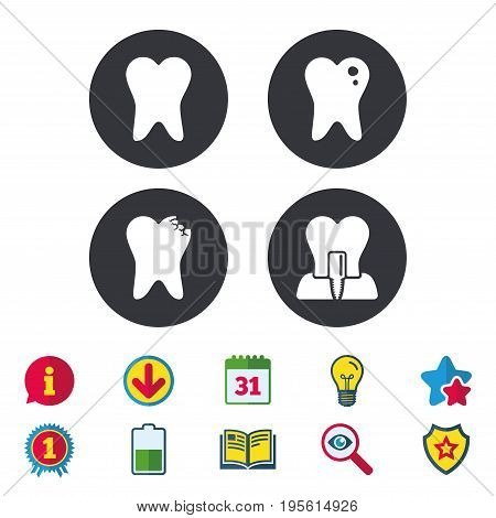 Dental care icons. Caries tooth sign. Tooth endosseous implant symbol. Calendar, Information and Download signs. Stars, Award and Book icons. Light bulb, Shield and Search. Vector