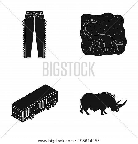 clothing, transport and or  icon in black style.history, animal icons in set collection.