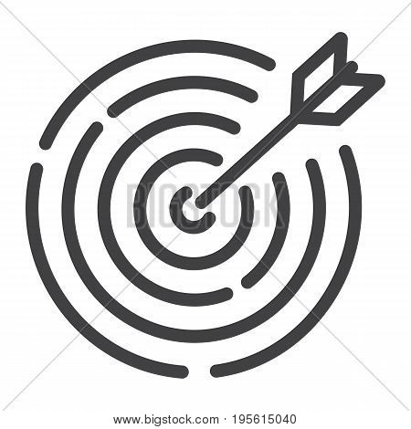 Target line icon, business and dartboard, vector graphics, a linear pattern on a white background, eps 10.