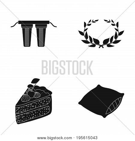 chemistry, cooking and or  icon in black style.history, sleep icons in set collection.