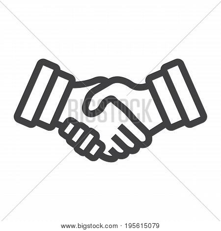 Business handshake line icon, contract and agreement, vector graphics, a linear pattern on a white background, eps 10.