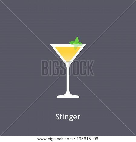 Stinger cocktail icon on dark background in flat style. Vector illustration
