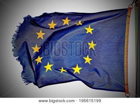 eu flag floating in the wind fresh