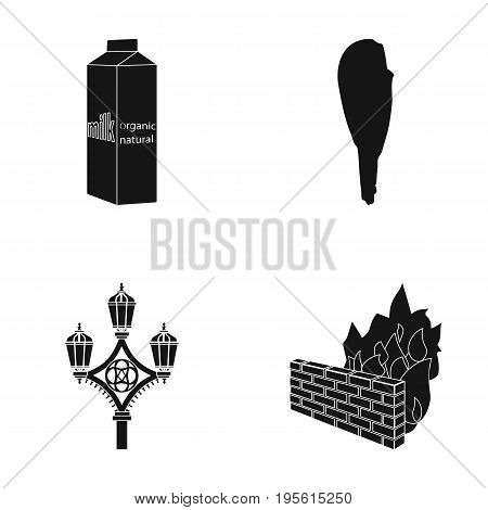 products, history and or  icon in black style. travel, firefighters icons in set collection.