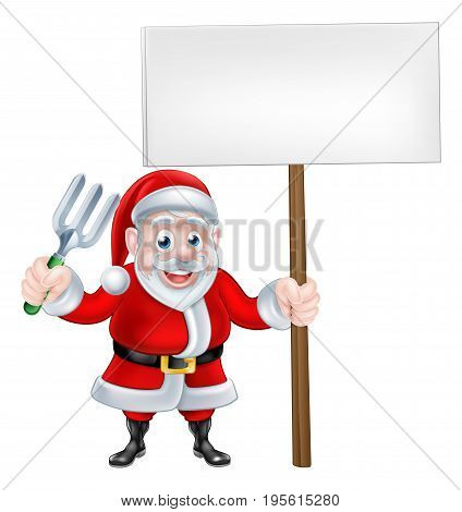 A Christmas cartoon Santa Claus holding a fork and sign board