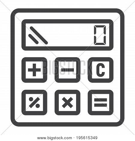 Calculate line icon, business and calculator, vector graphics, a linear pattern on a white background, eps 10.