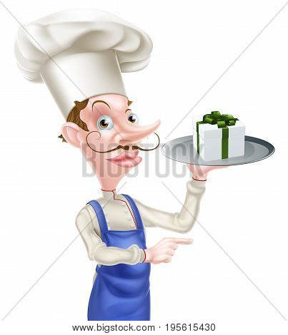 An illustration of a cartoon chef holding a tray with a gift or present on it and pointing