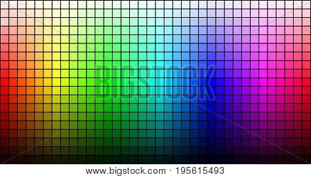 Rainbow mosaic, hue and brightness, on black background. Vector illustration