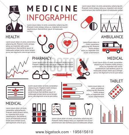 Digital vector black red pharmacy medical icons set with drawn simple line art info graphic promo poster, ambulance tooth pills nurse heart tubes syringe medicine first aid hospital, flat style