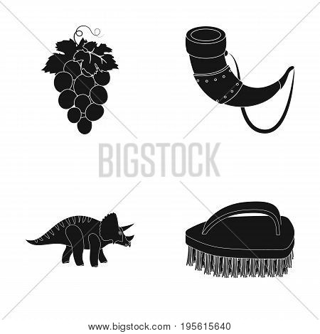 cleaning, winemaking and or  icon in black style. history, myths icons in set collection.