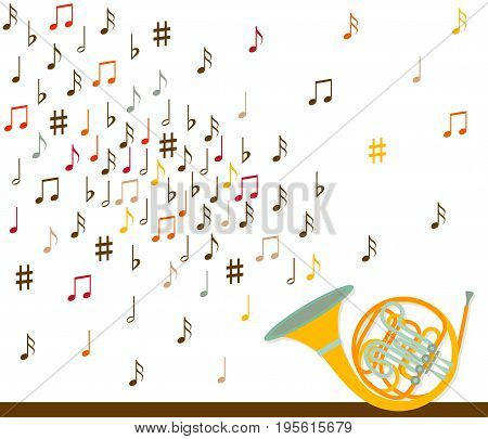 Musical concept. French horn with notes. Flat design. Vector illustration