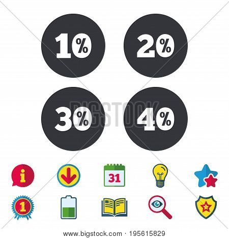 Sale discount icons. Special offer price signs. 10, 20, 30 and 40 percent off reduction symbols. Calendar, Information and Download signs. Stars, Award and Book icons. Light bulb, Shield and Search
