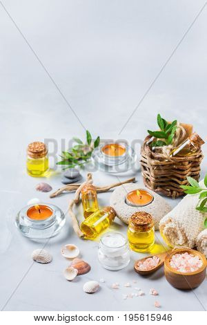 Spa Wellness Setting Concept, Background With Essential Oil Soap Cream