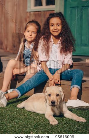 Selective Focus Of Multiethnic Girls Sitting On Porch With Cute Labrador Puppy