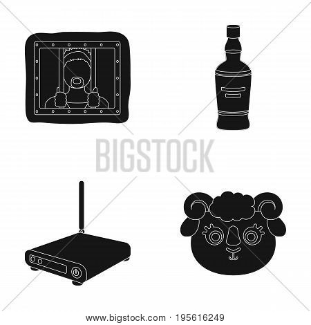 technology, alcohol and or  icon in black style. animal, prison icons in set collection.
