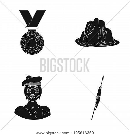 Sports, history and or  icon in black style.tourism, travel icons in set collection.