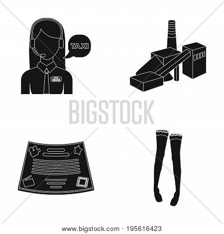 maintenance, film and or  icon in black style. clothing, Coal industry icons in set collection.