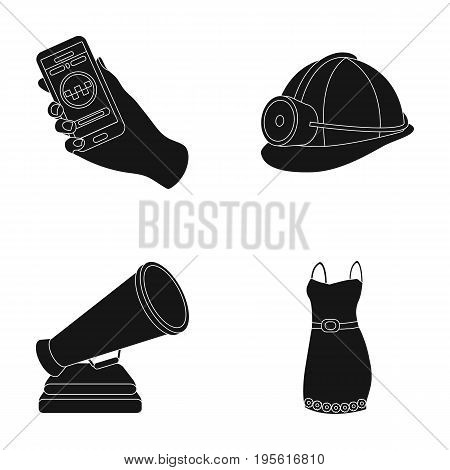 maintenance, cinema and or  icon in black style.Coal industry, fashion icons in set collection.