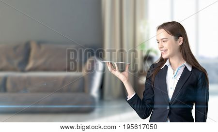 Young Beautiful Business Woman And Creative Designer Standing Over Blured 3D Interior On Background