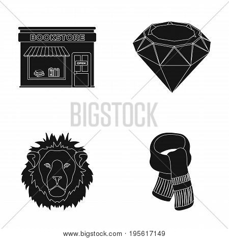 scarlet, secondhand and or  icon in black style. book animal, Ornaments icons in set collection.