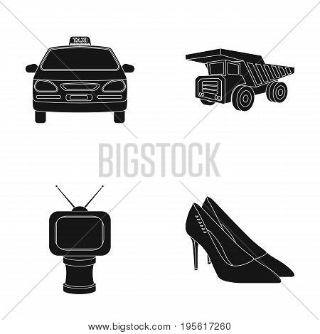 service, film and or  icon in black style.award, shoes, transport icons in set collection.