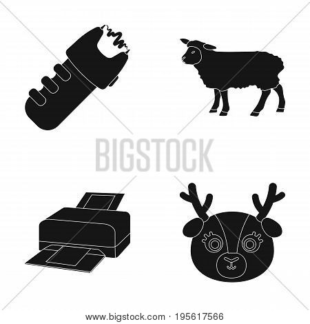 police, technology and or  icon in black style.Animals, agriculture icons in set collection.