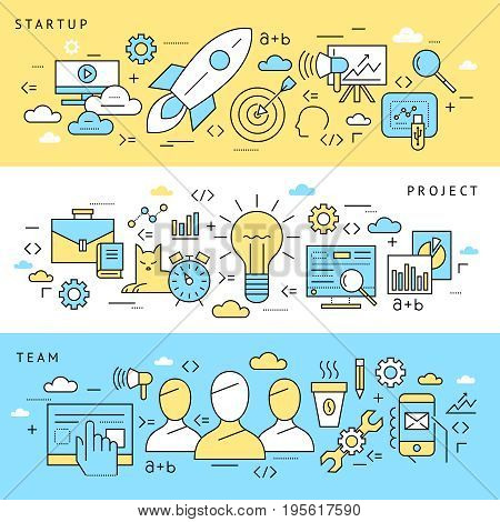 Digital vector blue startup business icons with drawn simple line art info graphic, presentation with project and team elements around promo template, flat style