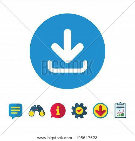 Download icon. Upload button. Load symbol. Information, Report and Speech bubble signs. Binoculars, Service and Download icons. Vector