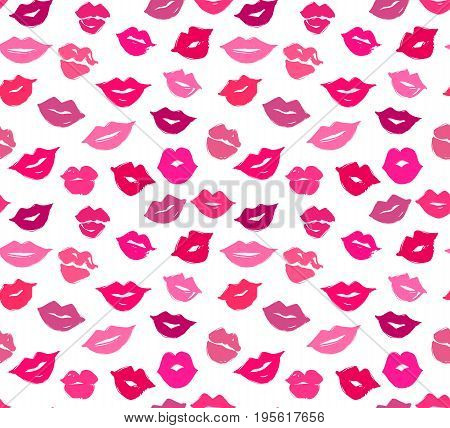 Vector lips seamless pattern.  Vector female lips. Trace of lipstick. Sweet kiss. Smiling mouth. Glamour print. Perfect for fabric, wrapping paper, bedding, textile, bedding, t-shirts. Girly background