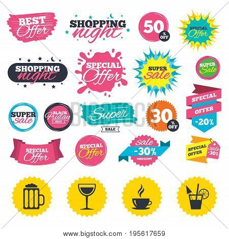 Sale shopping banners. Drinks icons. Coffee cup and glass of beer symbols. Wine glass and cocktail signs. Web badges, splash and stickers. Best offer. Vector