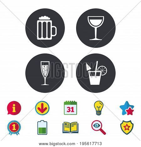 Alcoholic drinks icons. Champagne sparkling wine with bubbles and beer symbols. Wine glass and cocktail signs. Calendar, Information and Download signs. Stars, Award and Book icons. Vector