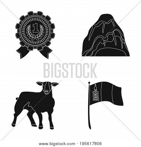 travel, cattle and or  icon in black style.training, sports icons in set collection.