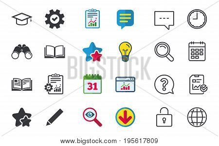 Pencil and open book icons. Graduation cap symbol. Higher education learn signs. Chat, Report and Calendar signs. Stars, Statistics and Download icons. Question, Clock and Globe. Vector