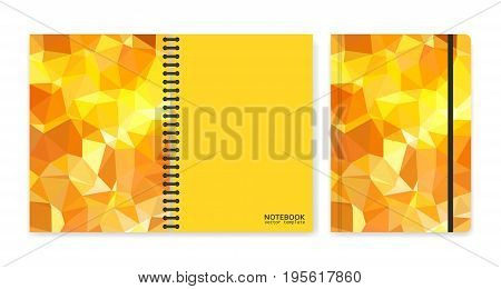 Cover design for notebooks or scrapbooks with triangular yellow pieces. Vector illustration.