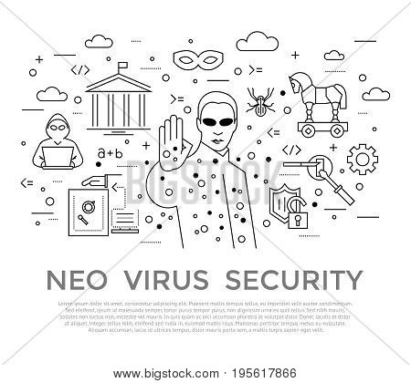 Digital vector black internet security data protection icons set drawn simple line art info graphic poster, hacker user bug vulnerability mobile email trojan malware bank cloud spy mask, flat