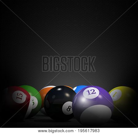 Billiard 3D Illustration with Copy Space. Dark Black Copy Space with billiard Balls.