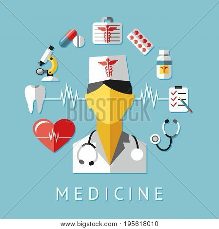 Digital vector blue red nurse pharmacy medical icons set with drawn simple line art info graphic, ambulance tooth pills tubes medicine dropper first aid thermometer hospital, flat style