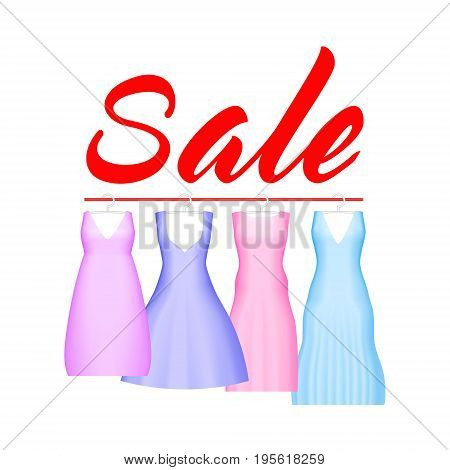 Summer sale background with vivid party dress. Vector background for banner, poster, flyer, card, postcard, cover, brochure. Four prom gowns with sale text. Wedding dress clearance discount