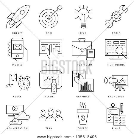 Digital vector black startup business icons with drawn simple line art info graphic, presentation with project and team elements around promo template, flat style