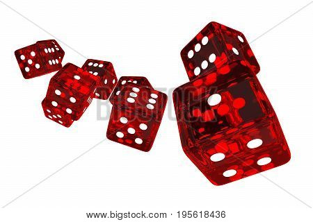 Crystal Red Casino Dices 3D Render Illustration. Red Glassy Dices Isolated on Solid White Background.