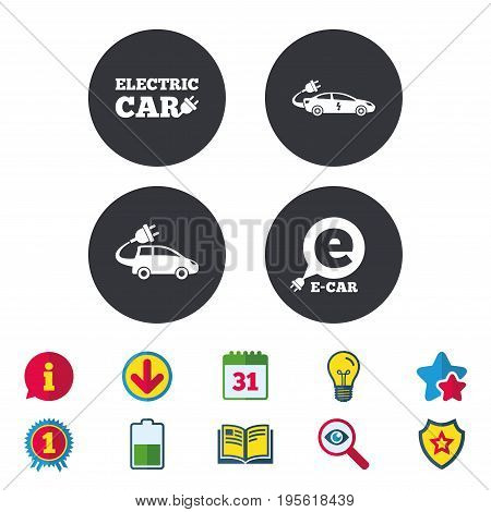 Electric car icons. Sedan and Hatchback transport symbols. Eco fuel vehicles signs. Calendar, Information and Download signs. Stars, Award and Book icons. Light bulb, Shield and Search. Vector