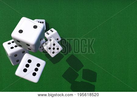 Dices Games Background 3D Illustration Concept with Copy Space. Classic White Dices and Green Gambling Table.