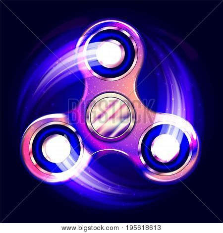 Realistic fidget spinner. Stress relieving toy. Trendy hand spinning machine. Violet shimmering cosmic style. Vector illustration.