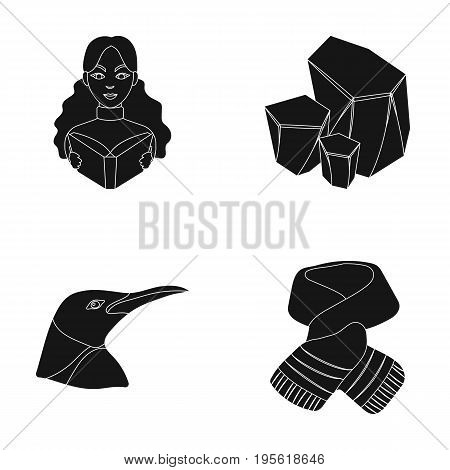 clothing, animal and or  icon in black style.profession, Coal industry icons in set collection.