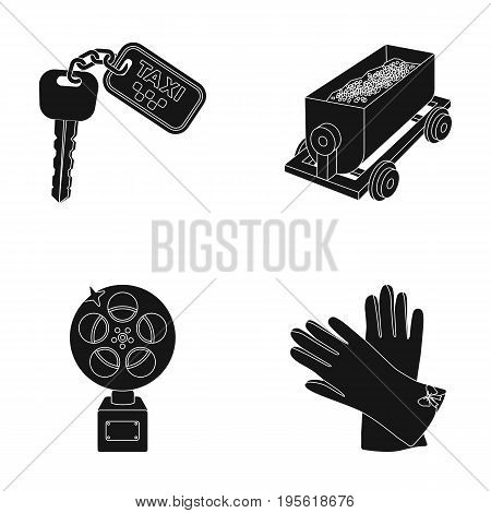 fashion, service and or  icon in black style.Coal industry, film icons in set collection.